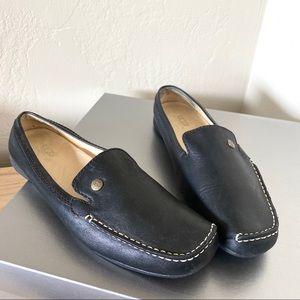 Ugg black leather slip on mules size 6.5